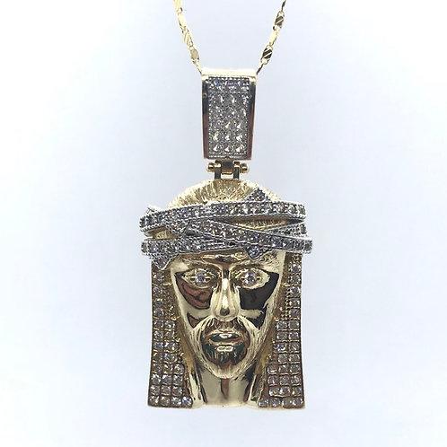 10 Karat Yellow Gold Jesus Pendant With CZ