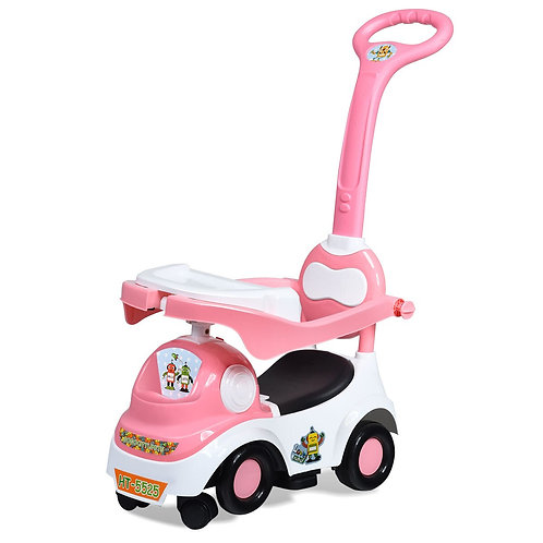 3 in 1 Kids Ride on Push Car Stroller Toddler Walking Play W/ Dining Plate Pink