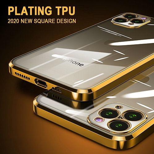 Luxury Plating Square Frame Transparent Case for iPhone