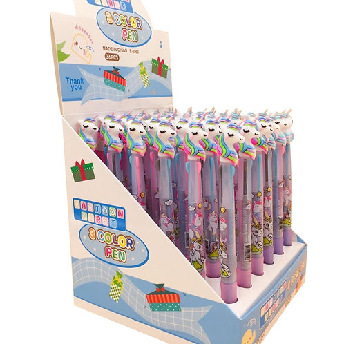 30pcs/Lot Lovely Cartoon 3 in 1 Multi Color Writing Ballpoint