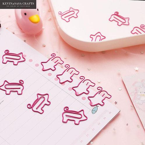10Pcs/Set Pig Clips Set Office Supplies Bookmark Clips
