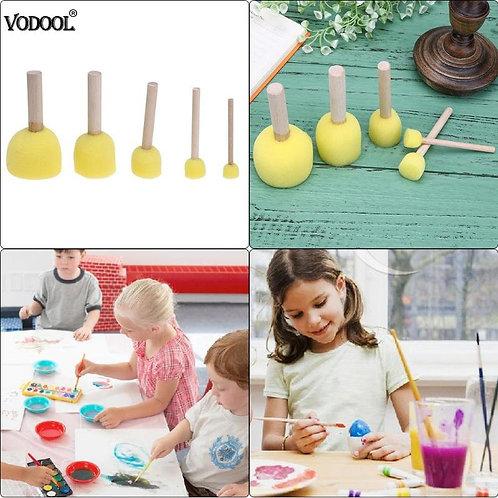 Sponge Paint Brushes Toys Wooden