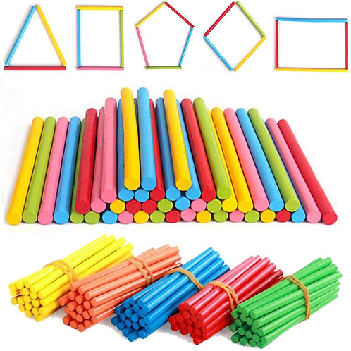 100pcs Colorful Bamboo Counting Sticks Mathematics