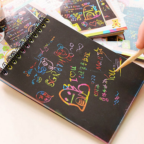 1 Book Colorful Dazzle Scratch Note Sketchbook Paper
