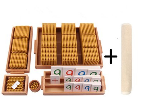 Bank Game Golden Bead Materials W/ Cards and Mat Montessori