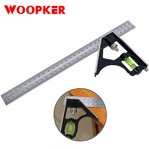 300mm Combination Metal Square Ruler 45/90 Degree Horizonta Stainless Steel