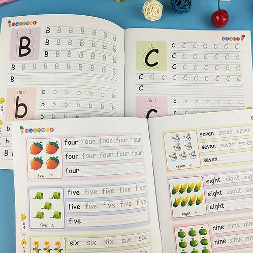 2 Books English 26 Alphabet Writing English Copybook for Kid Children Exercises