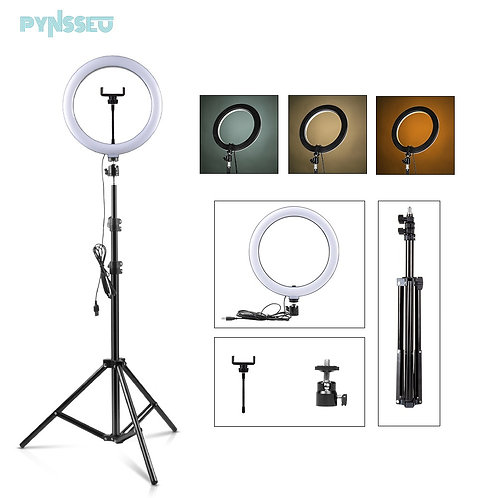 """26cm LED Ring Light With 1.1/1.6/2.0m Ring Stand Dimmable 10""""  Phone Clip"""