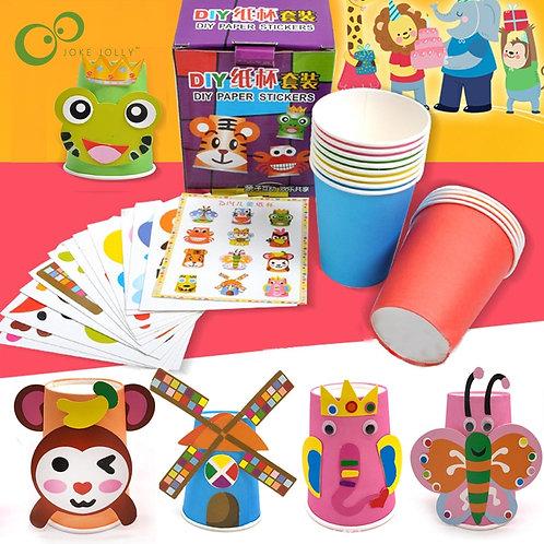 12pcs/Set Kids Animals DIY Handmade Paper Cup ZXH