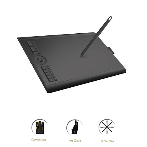10 X 6.25 Inches Art Digital Graphic Tablet for Drawing With Level Pen Pressure
