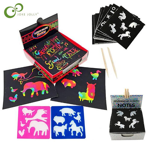 100PCS Rainbow Scratch Art Mini Notes With Wooden Stylus