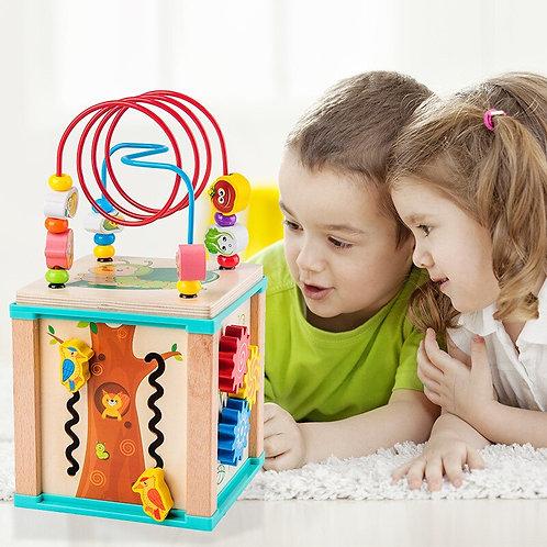 Montessori Beaded Maze Shape Recognition Toy Cartoon Clock