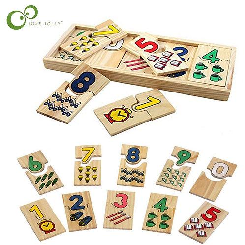 Math Toys Digital Shape Pairing Montessori  Wooden Toy for Children Gift ZXH