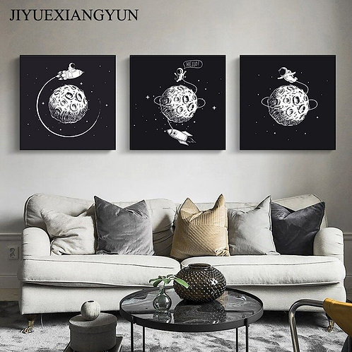Astronaut Outer Space Black and White Abstract Wall Art