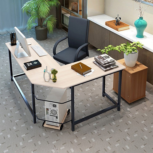 L Shaped Desk With Shelves Corner Computer Desk With Cpu Stand,