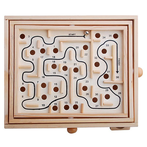 Wood Labyrinth Game, Table Maze/Balance Board Table Maze Solitaire Game