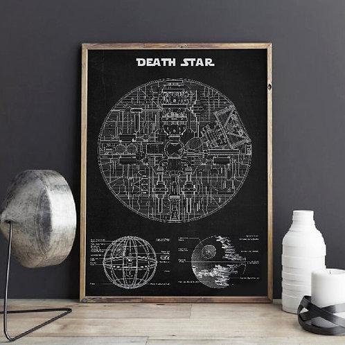Star Wars Death Star Blueprint Wall Art