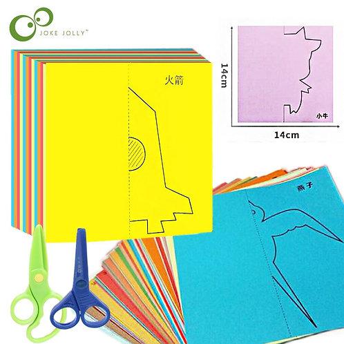 48pcs/Set Kids Cartoon Color Paper Folding and Cutting Toys/Children