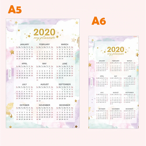 2020Colorful Paper Calendar A5/A6 Index