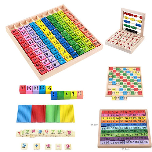 Baby Wooden Toys 99 Multiplication Table Math Toy 10*10 Figure