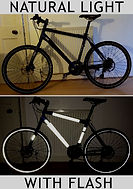black reflective tape on bicycle showing