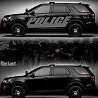 Black reflective police car nearly unmar