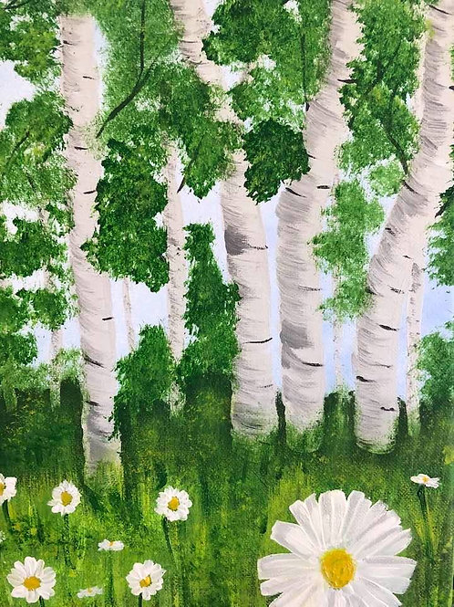 214 Daisies and Birch 9x12s