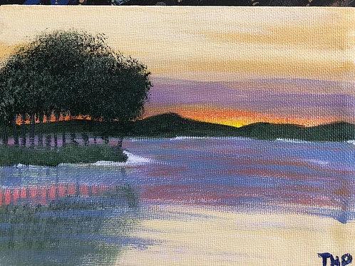 153 Lake at sunset 5x7s