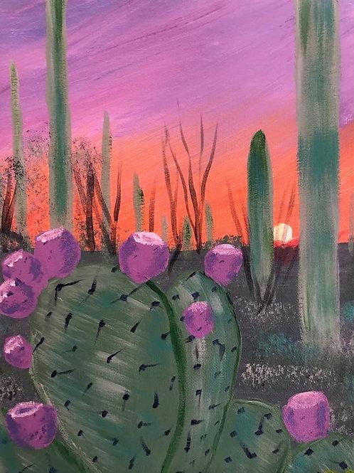 209 Cacti at Sunset 9x12s