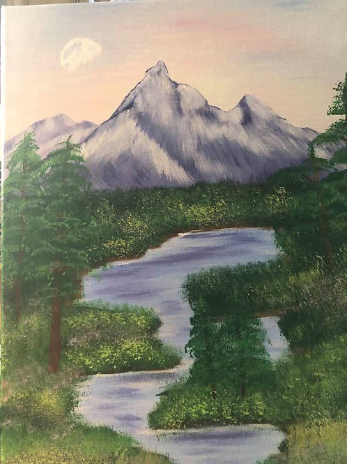 250 Moon over the mountain 11x14s