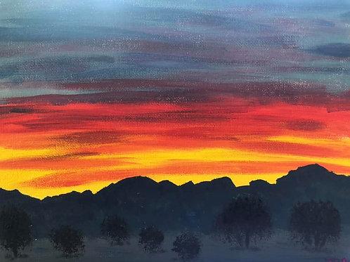 76 Sunset over Quartzsite 8 x 10