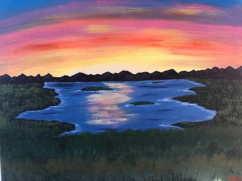 101 Sunset on Lake 16 x 20