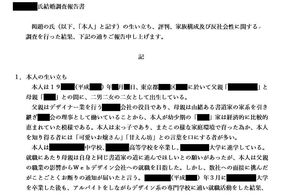 報告書例(結婚調査)