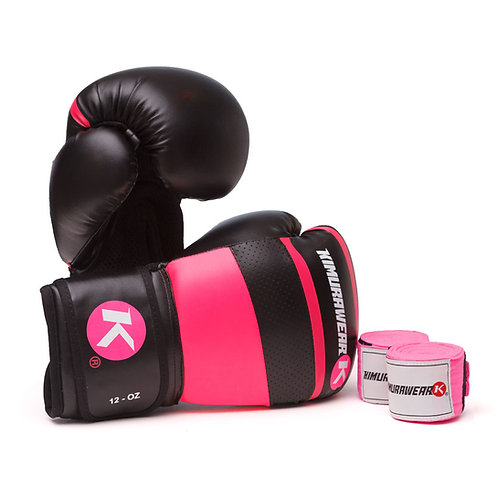 ASPIRE AGARI 12oz Pink Boxing Gloves and Wraps