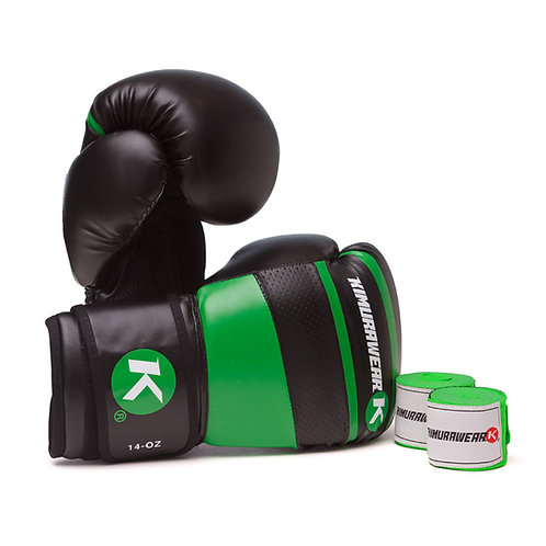 ASPIRE AGARI 14oz Green Boxing Gloves and Wraps