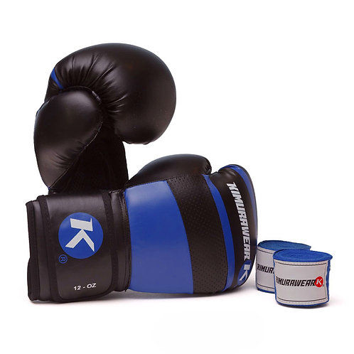 ASPIRE AGARI 12oz Blue Boxing Gloves and Wraps