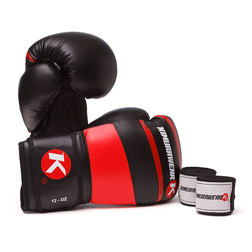 ASPIRE AGARI 12oz Red Boxing Gloves and Wraps