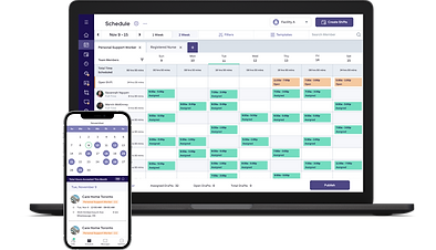 BookJane callout and shift scheduling platform on a laptop and mobile device