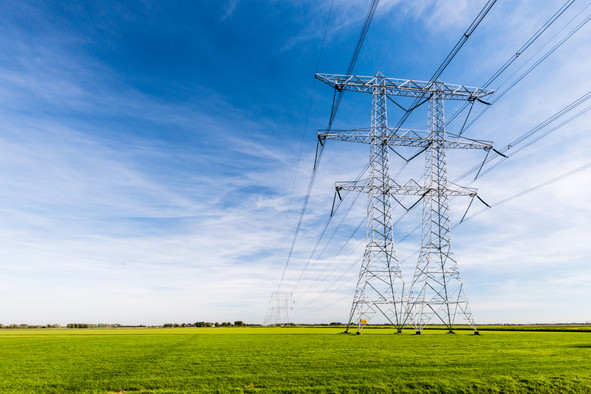 High voltage lines and power pylons in a