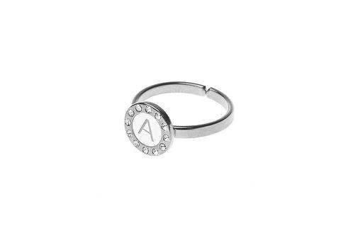 Anello in argento bianco con lettera su smalto bianco