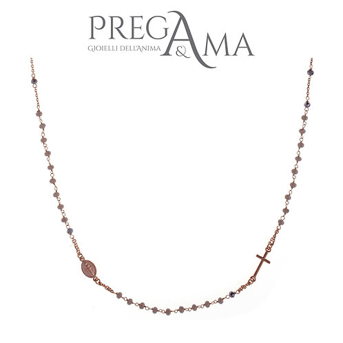 Girocollo rosario Prega&Ama | Pietre grigie ROSÈ