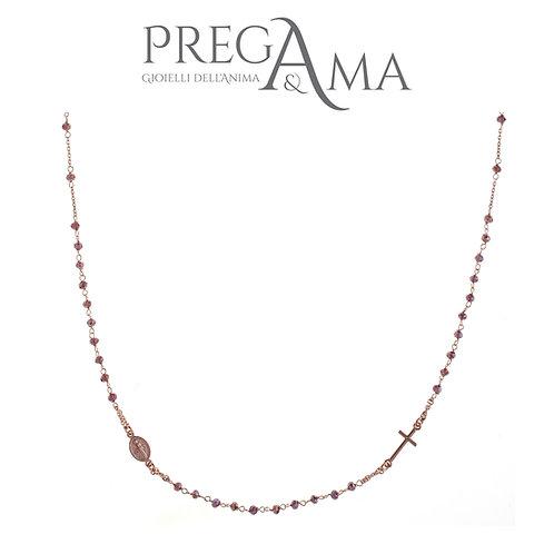 Girocollo rosario Pirega&Ama | Pietre viola ROSÈ
