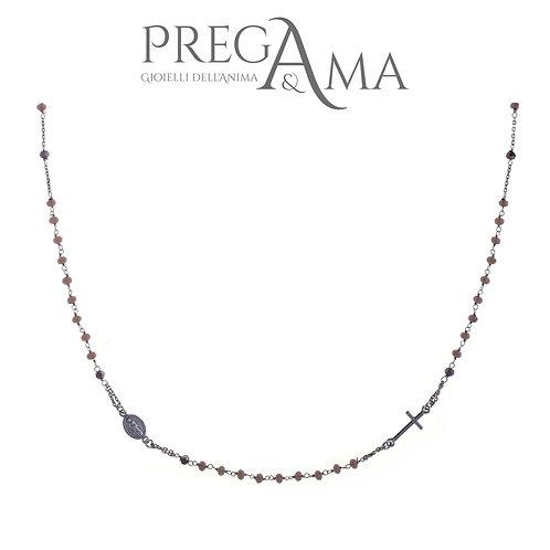 Girocollo rosario Prega&Ama   Pietre grigie RODIO