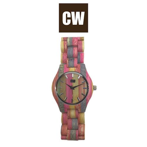 Orologio in legno | Fuxia e viola | CW