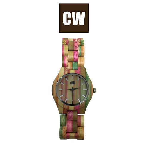 Orologio in legno | Fuxia e verde | CW