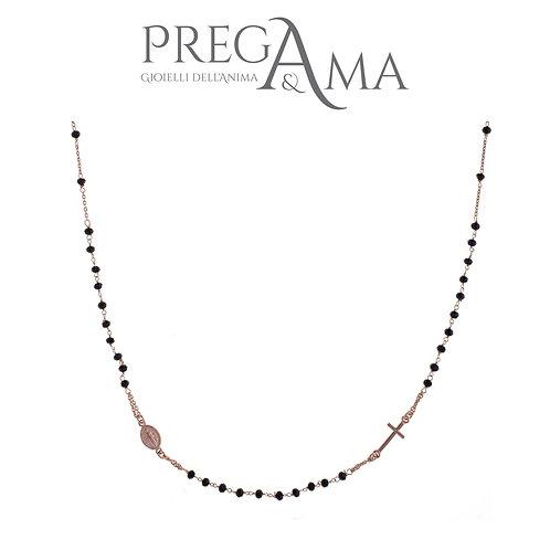 Girocollo rosario Prega&Ama | Pietre nere ROSÈ
