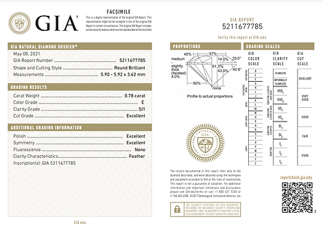 GIA 0.78ct E SI1