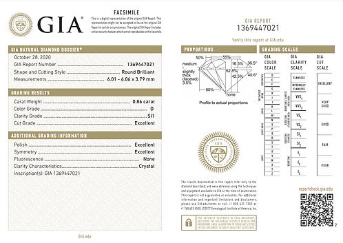 GIA 0,86ct D SI1 3EX