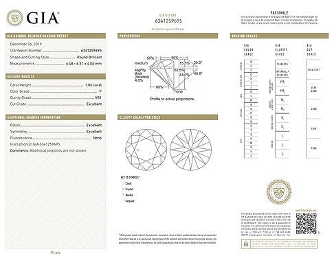 GIA 1.06ct F VS1