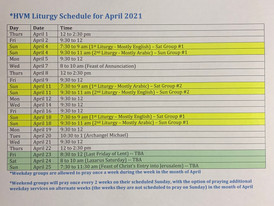Schedule of Liturgies for the Month of April 2021